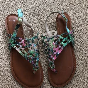 Zigi soho multi color thong sandals